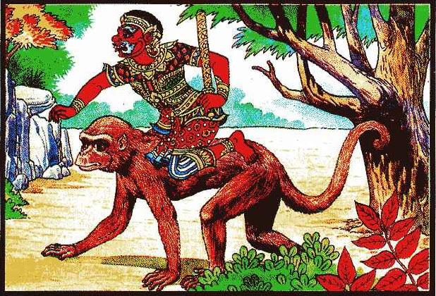 ยักษ์ขี่ลิง ท่านว่าผู้นั้น มักหัวดื้อ ใจคอเหี้ยมโหด ดุร้ายมัก